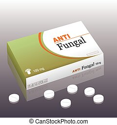 Antifungal Package Pills - Medicine named ANTIFUNGAL with a...