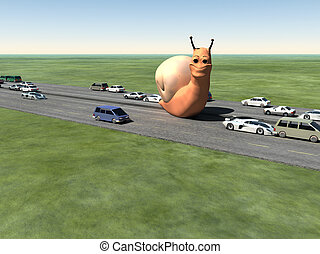 Monster Snail On The Road - A surreal humorous image of a...