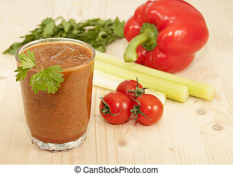 Vegetable Smoothies of tomato, pepper and celery and parsley...