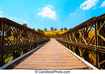 Bridge - The Old Bridge Passing Through Jordan River in...