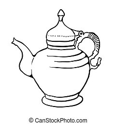 Antique teapot, vector illustration