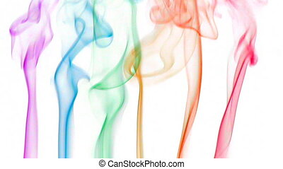 color smoke 03 - Colored fluid slow motion on white...