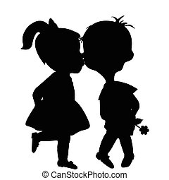 Cartoon boy and girl silhouettes kissing