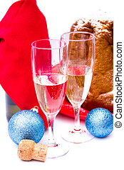 Sparkling wine with hite background