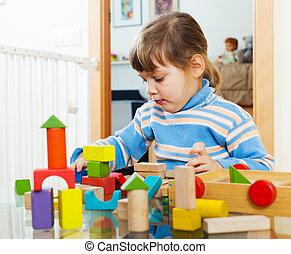 ernst, kind, spielende, Spielzeuge