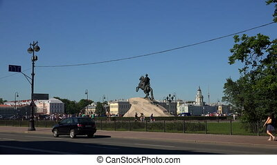 Monument to Peter I on the Senate square in St Petersburg...