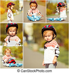 two year old girl in roller skates