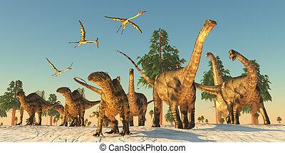 Dinosaurio, sequía, migración