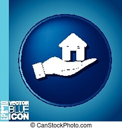 hand holding a House icon. Home sign