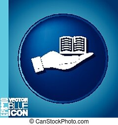 hand holding a open book sign. Education sign, symbol icon book with a bookmark or notebook .
