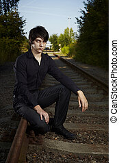 Illustration photo of moody young man - Moody young man...