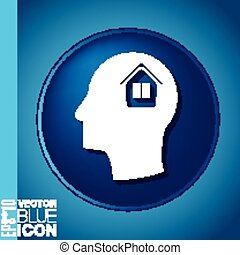 Vector Icon head think silhoutte vector man and his mind about  House icon. Home sign