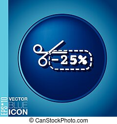 discount coupon with scissors. symbol icon discounts on merchandise