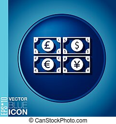 money bill symbol icon dollar, pound sterling, Japanese yen...