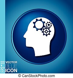 Vector Icon head think silhoutte vector man and his mind...