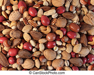 Nuts Background - Nuts background with a mixed assortment of...