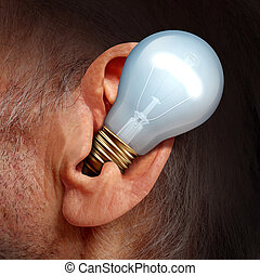 Listen To Ideas - Listen to ideas concept as a lightbulb...