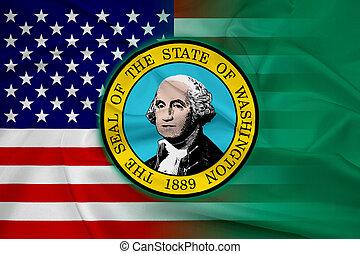 Waving USA and Washington State Flag