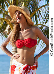 Happy Woman Wearing Summer Fashion Outfit - Close up Happy...