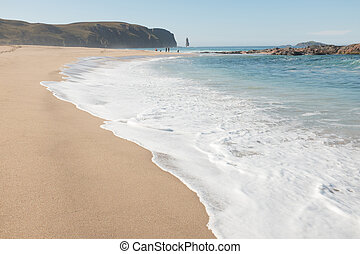 Sandwood bay beach. - Waves break up the steep white sandy...