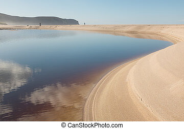 Sandwood bay lagoon - Steep white sand curves around the...