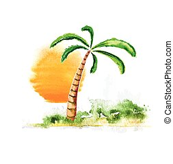 Palm tree and sun, watercolour vector illustration -...