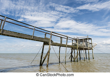 Jetty and house for fishing Gironde - Wooden jetty for...