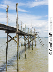 Jetty for fishing in Gironde Medoc - Wooden jetty for...