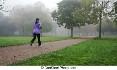 morning run in the park - female runner on a cold foggy...