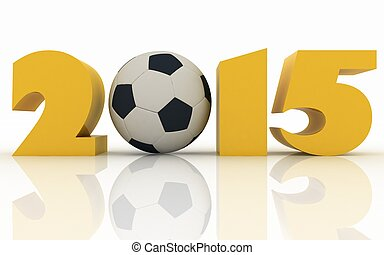 2015 year and soccer-ball on a white background