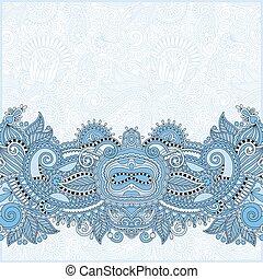 blue colour paisley design on decorative floral background...