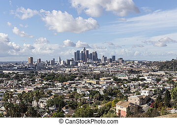 The City of Los Angeles - Clear smog free hilltop view of...