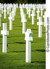 Cemetery - White crosses in American Cemetery,...