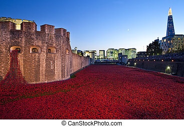 Tower of London and Poppies at Dusk - A dusk-time view of...