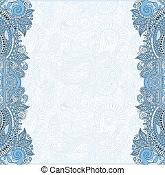 blue colour unusual floral ornamental template with place...