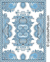 blue colour ukrainian floral carpet design for print on...