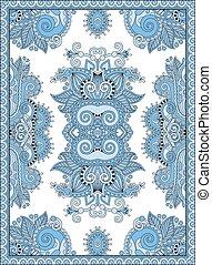 blue colour ukrainian floral carpet design for print on...