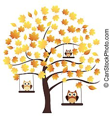 Fall Tree - vector fall tree with owls swinging