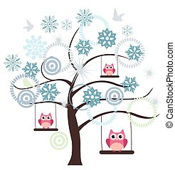 Snow Owl - vector tree with snowflakes and owl swinging