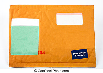 Envelope with blank stickers for text, on white background