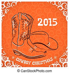 Western New Year with cowboy boots and western hat