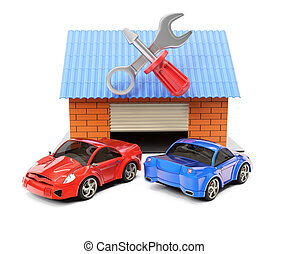 Car service station isolated on white background. 3d...