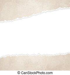 rasgado, abierto, viejo, vendimia, papel,