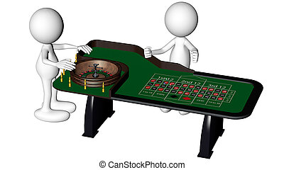 dolls playing roulette - little men playing roulette 3d...