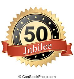 Jubilee button with banners - 50 years - Jubilee button with...