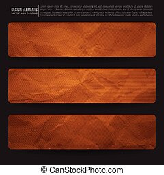 Vector Web Banners - Set of 3 old creased paper vector web...