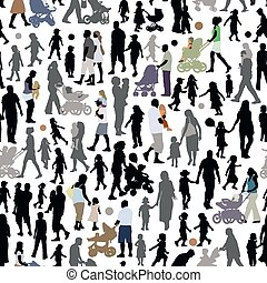 Family silhouettes - Crowd of people, pattern with parents...