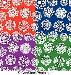 Set of seamless patterns with Decorative paper snowflakes. White