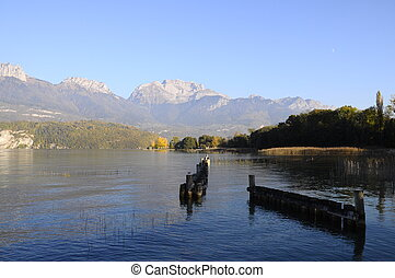 Lake of Annecy and tournette mountain, in france - Overview...
