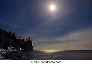 Split Rock Lighthouse Under the Moon